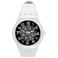 Ice Crystal Ice Form Frost Fabric Round Plastic Sport Watch (m) by Onesevenart
