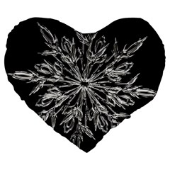 Ice Crystal Ice Form Frost Fabric Large 19  Premium Heart Shape Cushions by Onesevenart