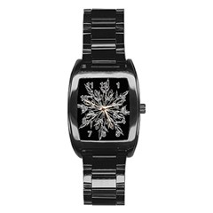 Ice Crystal Ice Form Frost Fabric Stainless Steel Barrel Watch by Onesevenart