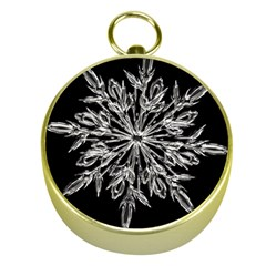 Ice Crystal Ice Form Frost Fabric Gold Compasses