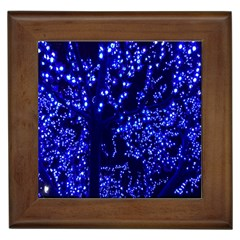 Lights Blue Tree Night Glow Framed Tiles by Onesevenart