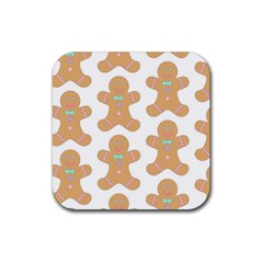 Pattern Christmas Biscuits Pastries Rubber Square Coaster (4 Pack)  by Onesevenart