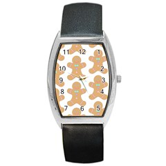 Pattern Christmas Biscuits Pastries Barrel Style Metal Watch by Onesevenart