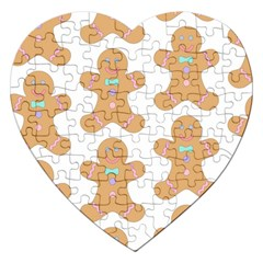 Pattern Christmas Biscuits Pastries Jigsaw Puzzle (heart) by Onesevenart