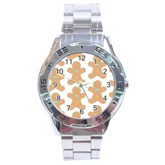 Pattern Christmas Biscuits Pastries Stainless Steel Analogue Watch by Onesevenart