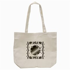 Metal Circle Background Ring Tote Bag (cream) by Onesevenart