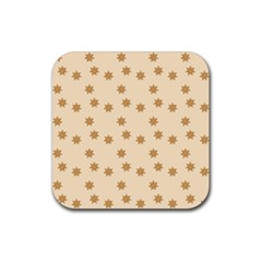 Pattern Gingerbread Star Rubber Square Coaster (4 Pack)  by Onesevenart