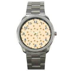 Pattern Gingerbread Star Sport Metal Watch by Onesevenart