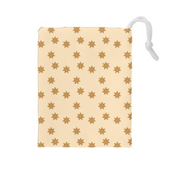 Pattern Gingerbread Star Drawstring Pouches (large)  by Onesevenart