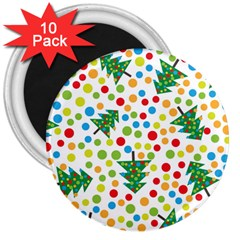 Pattern Circle Multi Color 3  Magnets (10 Pack)  by Onesevenart