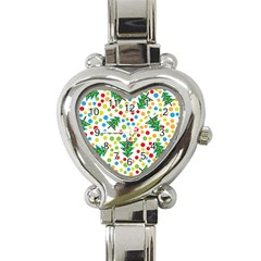 Pattern Circle Multi Color Heart Italian Charm Watch by Onesevenart