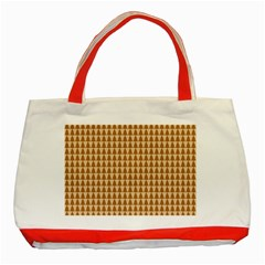 Pattern Gingerbread Brown Classic Tote Bag (red) by Onesevenart