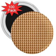 Pattern Gingerbread Brown 3  Magnets (100 Pack) by Onesevenart