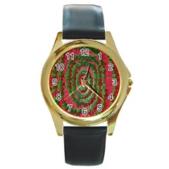 Red Green Swirl Twirl Colorful Round Gold Metal Watch by Onesevenart