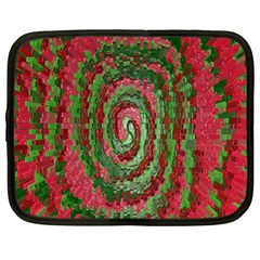Red Green Swirl Twirl Colorful Netbook Case (xl)  by Onesevenart