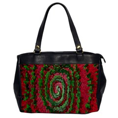Red Green Swirl Twirl Colorful Office Handbags by Onesevenart