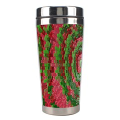 Red Green Swirl Twirl Colorful Stainless Steel Travel Tumblers by Onesevenart