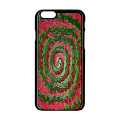 Red Green Swirl Twirl Colorful Apple Iphone 6/6s Black Enamel Case by Onesevenart