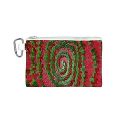 Red Green Swirl Twirl Colorful Canvas Cosmetic Bag (s) by Onesevenart