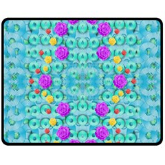 Season For Roses And Polka Dots Double Sided Fleece Blanket (medium)  by pepitasart