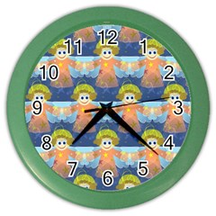 Seamless Repeat Repeating Pattern Color Wall Clocks by Onesevenart