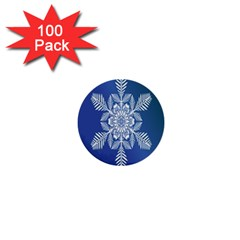Snow Flake Crystal Snow Winter Ice 1  Mini Buttons (100 Pack)  by Onesevenart