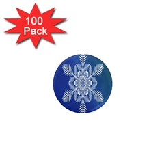 Snow Flake Crystal Snow Winter Ice 1  Mini Magnets (100 Pack)  by Onesevenart