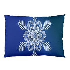 Snow Flake Crystal Snow Winter Ice Pillow Case by Onesevenart