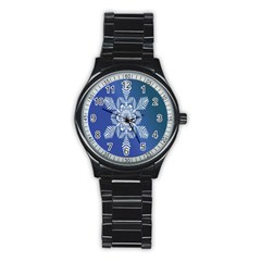 Snow Flake Crystal Snow Winter Ice Stainless Steel Round Watch by Onesevenart