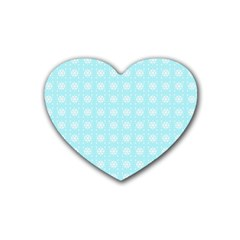 Snowflakes Paper Christmas Paper Heart Coaster (4 Pack)  by Onesevenart