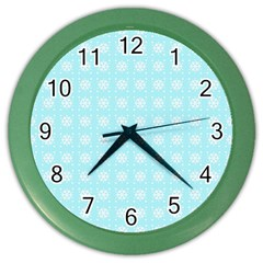 Snowflakes Paper Christmas Paper Color Wall Clocks by Onesevenart