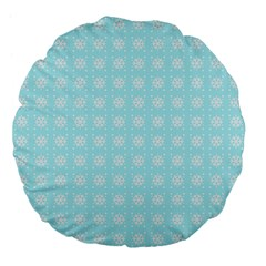 Snowflakes Paper Christmas Paper Large 18  Premium Flano Round Cushions by Onesevenart