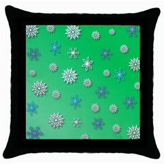 Snowflakes Winter Christmas Overlay Throw Pillow Case (black) by Onesevenart