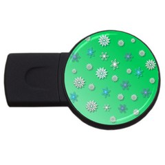 Snowflakes Winter Christmas Overlay Usb Flash Drive Round (4 Gb) by Onesevenart