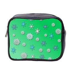 Snowflakes Winter Christmas Overlay Mini Toiletries Bag 2 Side by Onesevenart