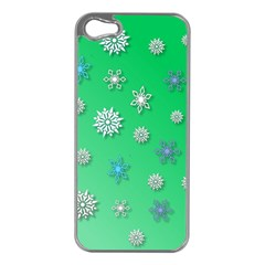 Snowflakes Winter Christmas Overlay Apple Iphone 5 Case (silver) by Onesevenart