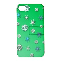 Snowflakes Winter Christmas Overlay Apple Iphone 4/4s Hardshell Case With Stand by Onesevenart