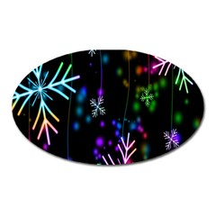 Snowflakes Snow Winter Christmas Oval Magnet by Onesevenart