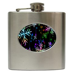 Snowflakes Snow Winter Christmas Hip Flask (6 Oz) by Onesevenart