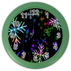 Snowflakes Snow Winter Christmas Color Wall Clocks by Onesevenart