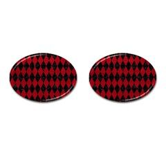 Diamond1 Black Marble & Red Leather Cufflinks (oval) by trendistuff