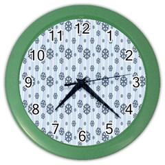 Snowflakes Winter Christmas Card Color Wall Clocks by Onesevenart