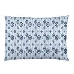 Snowflakes Winter Christmas Card Pillow Case by Onesevenart