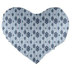 Snowflakes Winter Christmas Card Large 19  Premium Heart Shape Cushions by Onesevenart