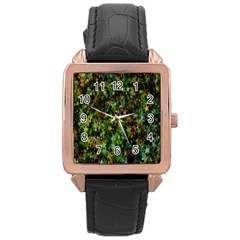 Star Abstract Advent Christmas Rose Gold Leather Watch  by Onesevenart
