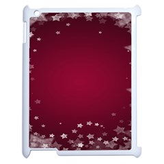 Star Background Christmas Red Apple Ipad 2 Case (white) by Onesevenart