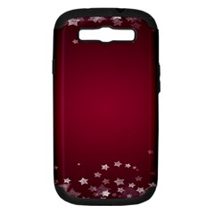 Star Background Christmas Red Samsung Galaxy S Iii Hardshell Case (pc+silicone) by Onesevenart