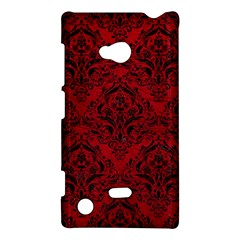 Damask1 Black Marble & Red Leather Nokia Lumia 720 by trendistuff