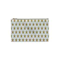Star Background Gold White Cosmetic Bag (small)  by Onesevenart