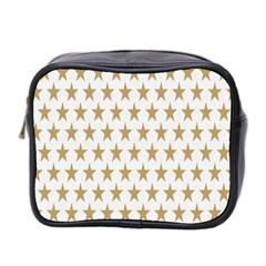 Star Background Gold White Mini Toiletries Bag 2 Side by Onesevenart